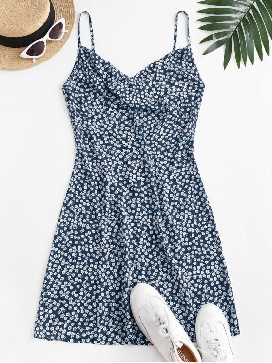 new ZAFUL Cowl Front Ditsy Floral Cami Dress - DEEP BLUE XL