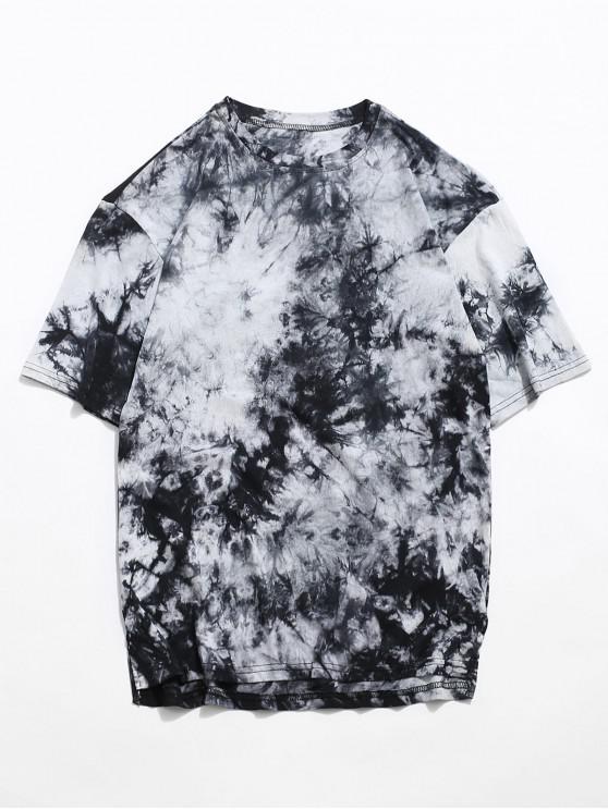 Tie Dye Side Slit Casual High Low T Shirt - أسود XS