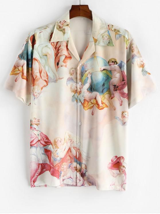 buy Allover Print Camp Collar Renaissance Art Shirt - LIGHT YELLOW 2XL