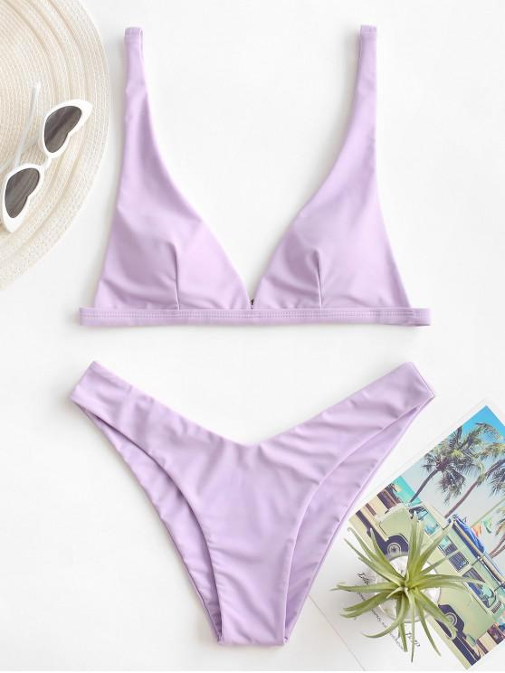outfits ZAFUL High Cut Plunge Bikini Swimsuit - LIGHT PURPLE S
