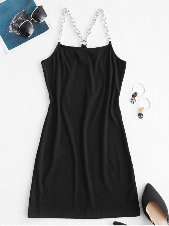 buy Chain Linked Ribbed Bodycon Dress - BLACK M