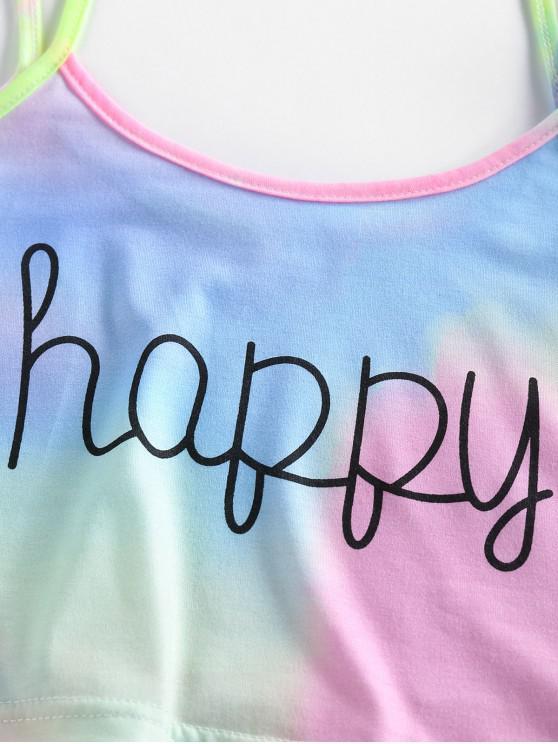 ZAFUL Tie Dye Happy Graphic Crop Cami Top - Light Blue S