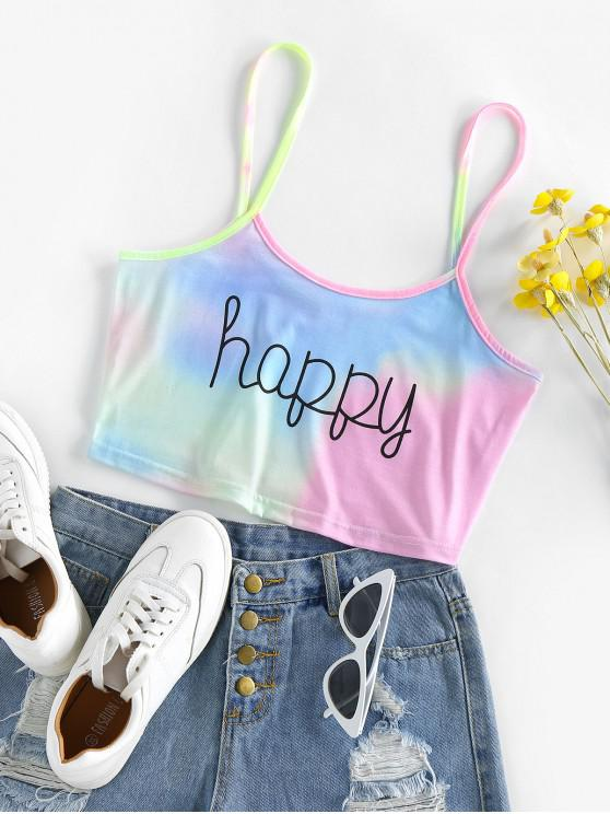 ZAFUL Tie Dye Happy Graphic Crop Cami Top - أزرق فاتح XL