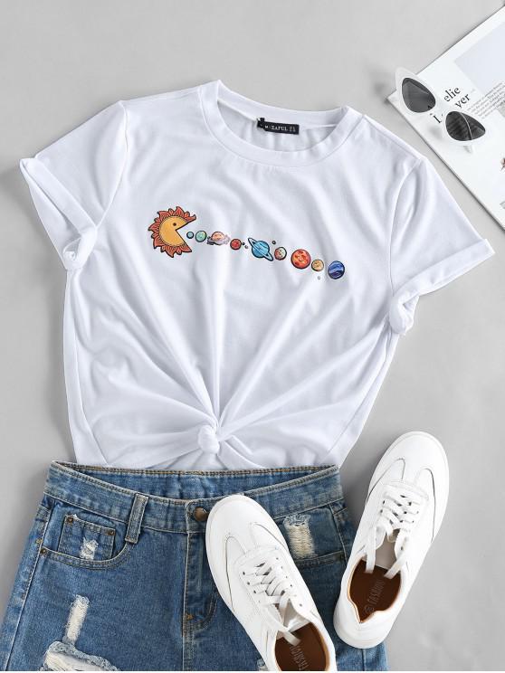 lady ZAFUL Planet Print Short Sleeve T-shirt - WHITE L