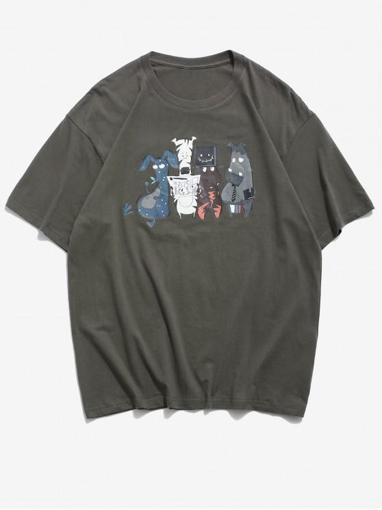 trendy Funny Cartoon Animal Pattern Basic T Shirt - DARK GRAY 2XL