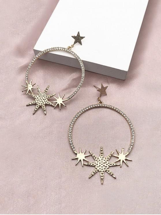 shop Star Circle Rhinestone Earrings - GOLDEN
