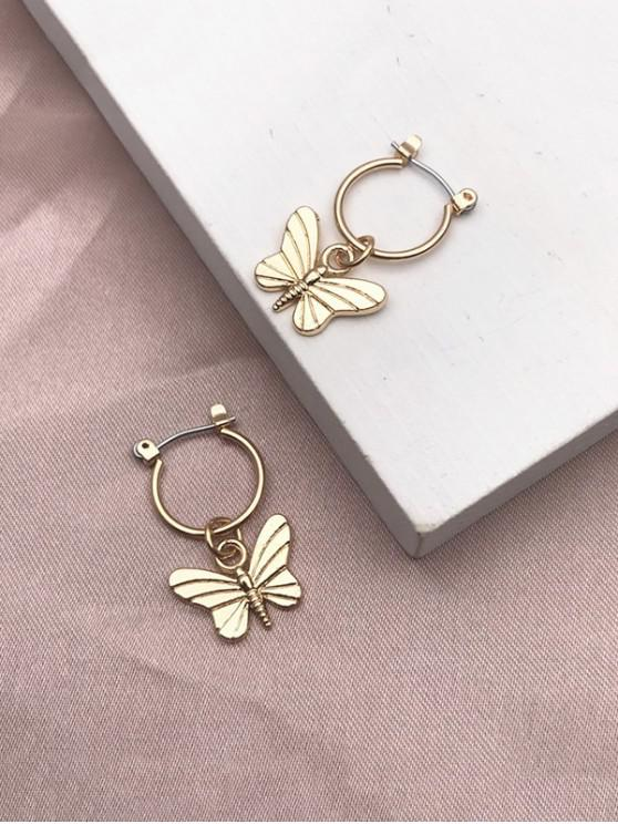 outfit Carved Butterfly Pendant Hoop Earrings - GOLDEN