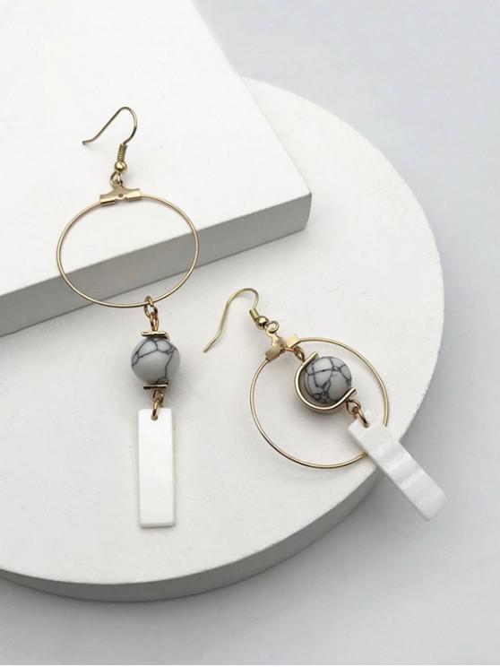 shop Faux Marble Beaded Asymmetric Hook Earrings - GOLDEN