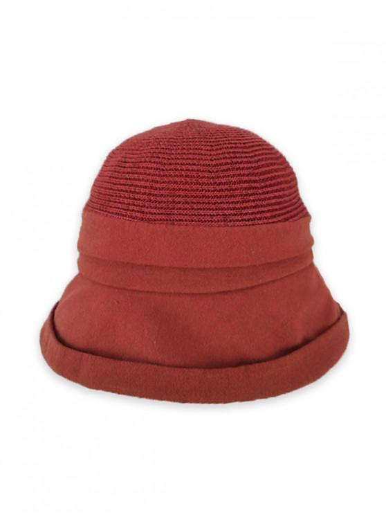 new Pure Color Woven Bucket Hat - CHERRY RED