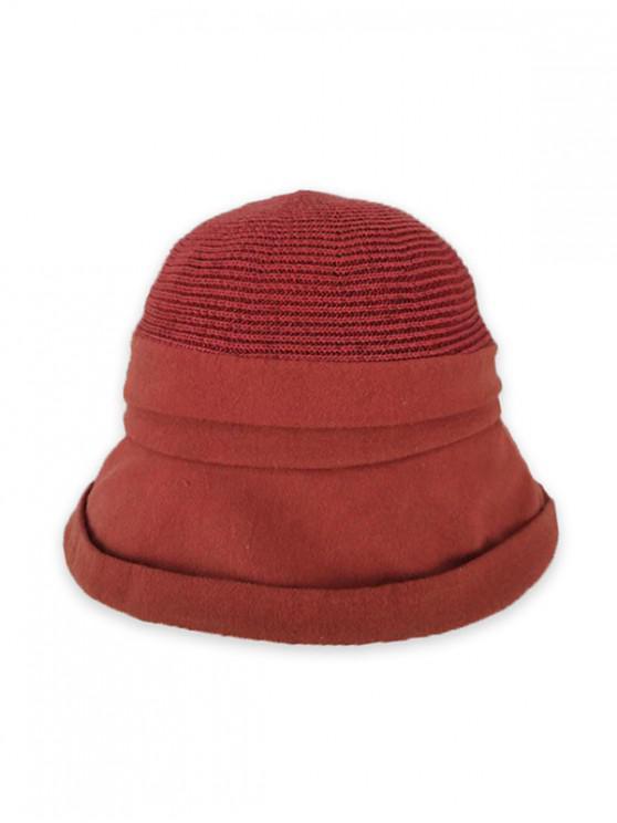 Pure Color Woven Bucket Hat - الكرز الاحمر