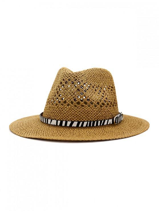 fancy Straw Jazz Hat With Animal Print Belt - KHAKI