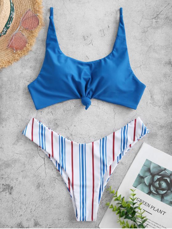 outfit ZAFUL Contrast Striped Knotted Bikini Set - OCEAN BLUE L
