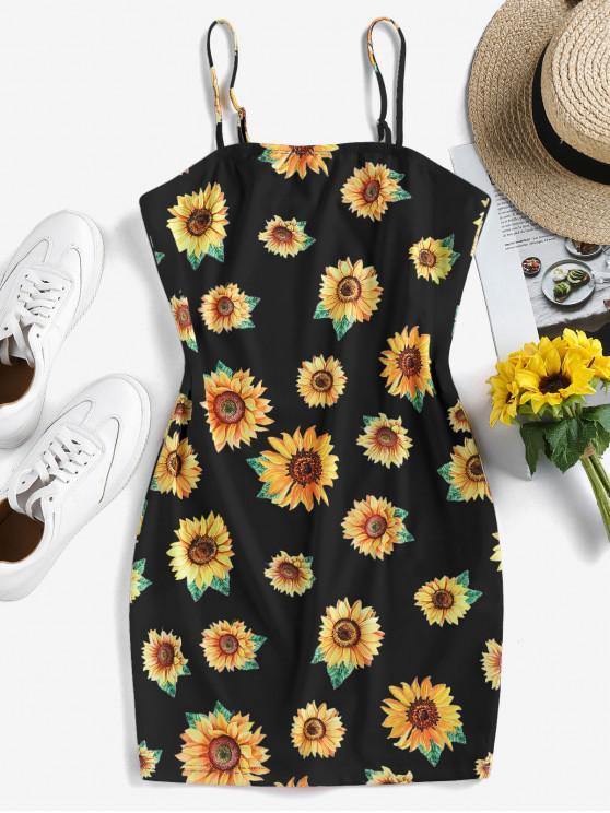 shop ZAFUL Sunflower Print Bodycon Mini Dress - BLACK M