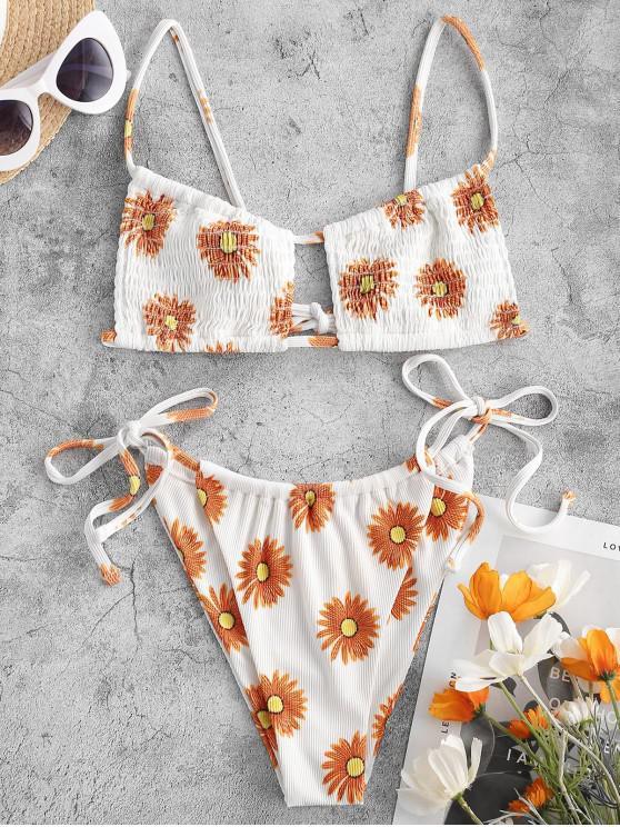 latest ZAFUL Hot Burning Sun Smocked Bikini Swimwear - DARK ORANGE S