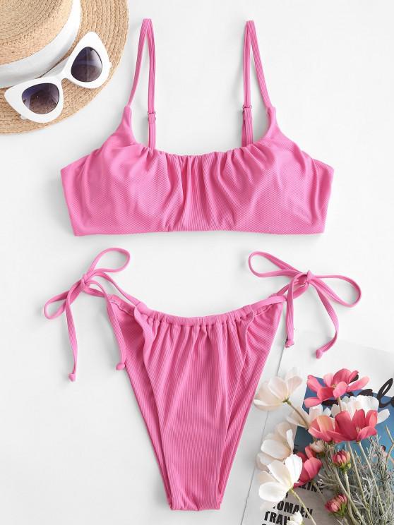 ZAFUL Rosy Cheeks Ribbed String Bikini Swimwear - وردي فاتح S