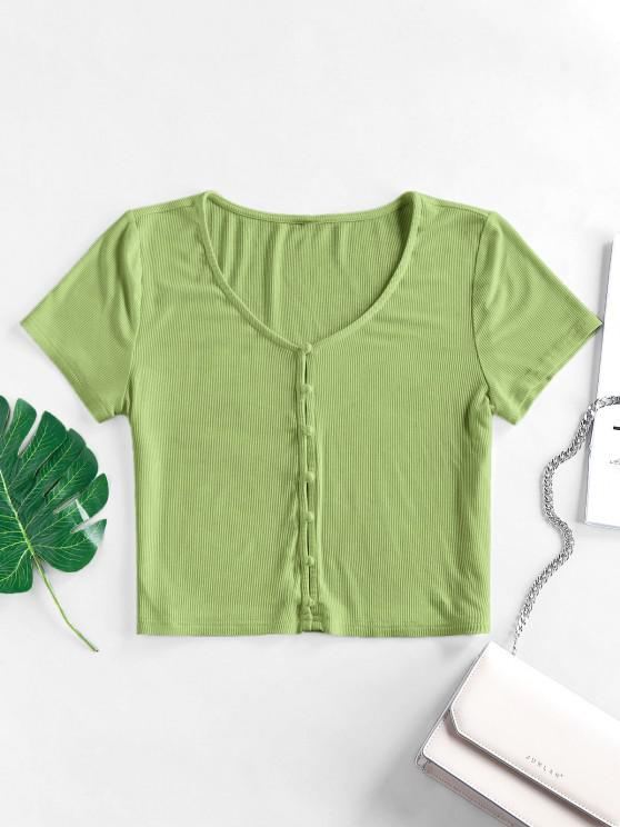 outfit ZAFUL Ribbed Loop Button V Neck Crop T-shirt - DARK SEA GREEN S
