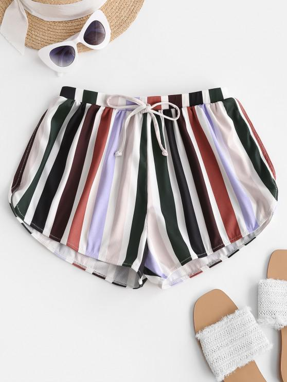 ladies ZAFUL Colorful Stripes Ribbed Bowknot Swim Bottom - DEEP RED L