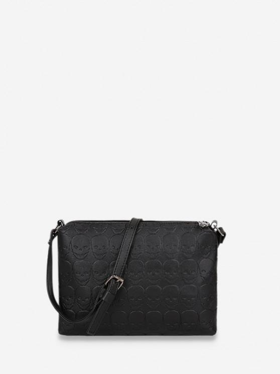 affordable Skull Embossed Leather Crossbody Bag - BLACK