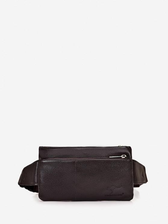 Plain Leather Adjustable Chest Bag - القهوة العميقة