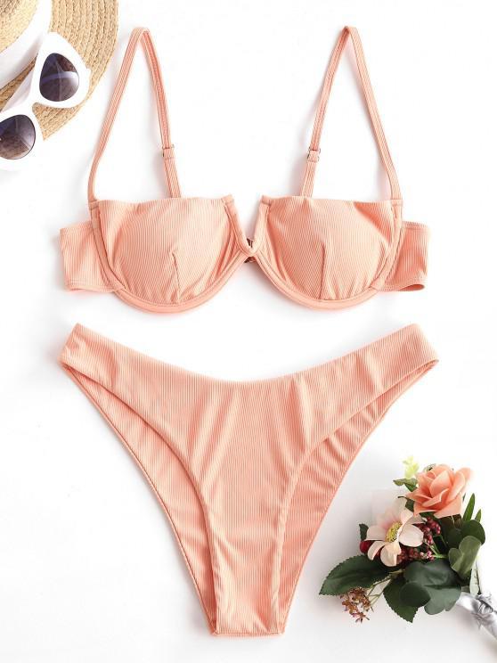ladies ZAFUL Sun-chasing Ribbed V Notch Balconette Bikini - LIGHT ORANGE S