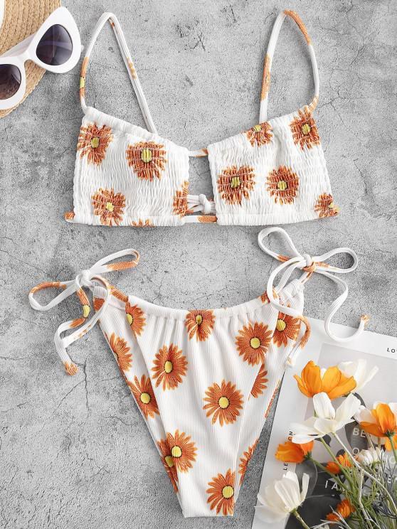 ZAFUL Hot Burning Sun Smocked Bikini Swimwear - برتقالي قاتم M
