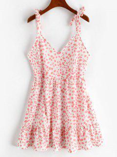 Tie Shoulder Surplice Leopard Flounce Dress - Light Pink L