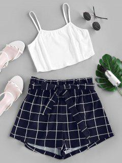 ZAFUL Crop Top And Grid Shorts Two Piece Set - Dark Slate Blue M