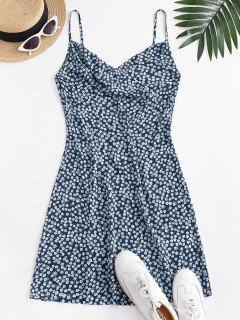 ZAFUL Vestido Cami Impressão Floral Capuz Frente - Azul Escuro L