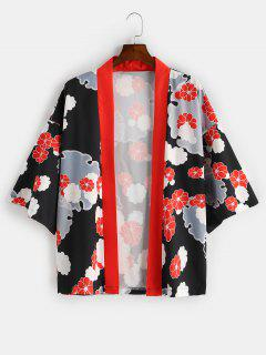 Open Front Flower Printed Kimono Cardigan - Black 2xl
