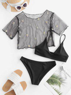 ZAFUL Sequined Star Mesh Low Waisted Three Pieces Bikini Swimwear - Black M