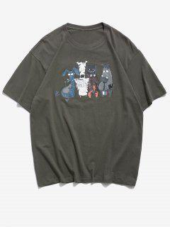 Funny Cartoon Animal Pattern Basic T Shirt - Dark Gray 2xl