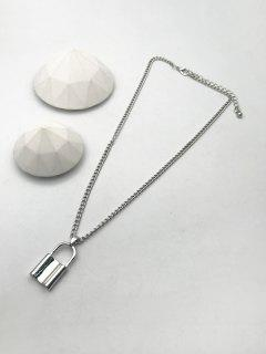 Alloy Lock Pendant Necklace - Silver