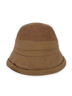 Pure Color Woven Bucket Hat - Khaki
