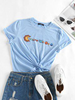 ZAFUL Planet Print Short Sleeve T-shirt - Light Blue S
