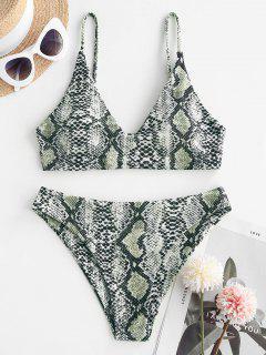 ZAFUL Snakeskin Ribbed Cami Tank Bikini Swimwear - Black M