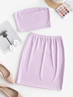 Bandeau Sheath Two Piece Dress - Light Purple M