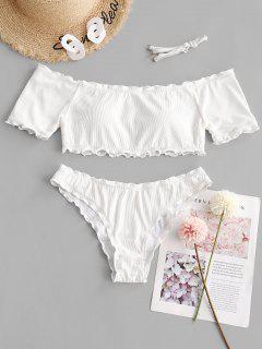 ZAFUL Ribbed Lettuce Trim Off Shoulder Bikini Swimwear - White L
