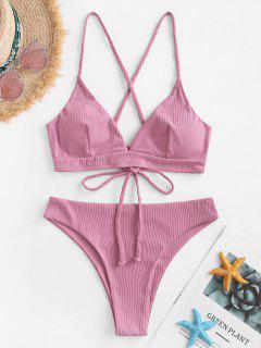 ZAFUL Ribbed Braided Lace-up Bikini Swimwear - Light Pink M