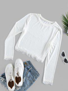 ZAFUL Lace Insert Ribbed Crop T-shirt - White S