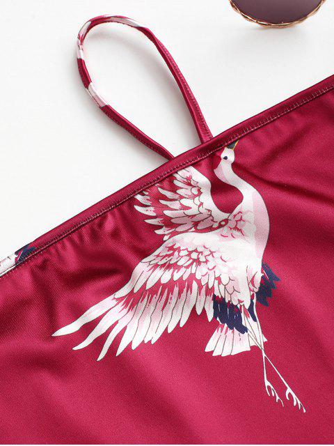 women's Chinoiserie Sheeny Traditional Crane Two Piece Dress - RED XL Mobile