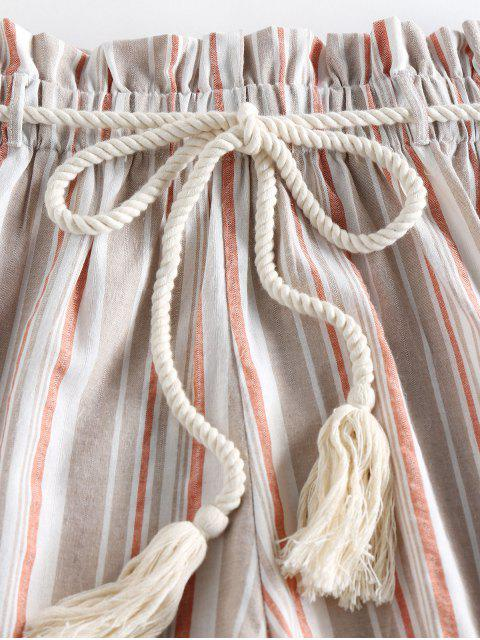 unique ZAFUL Rope Belt Striped Paperbag Shorts - LIGHT SALMON XL Mobile