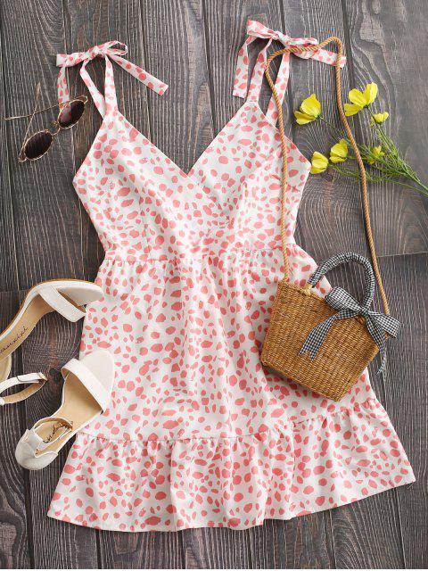 shops Tie Shoulder Surplice Leopard Flounce Dress - LIGHT PINK XL Mobile