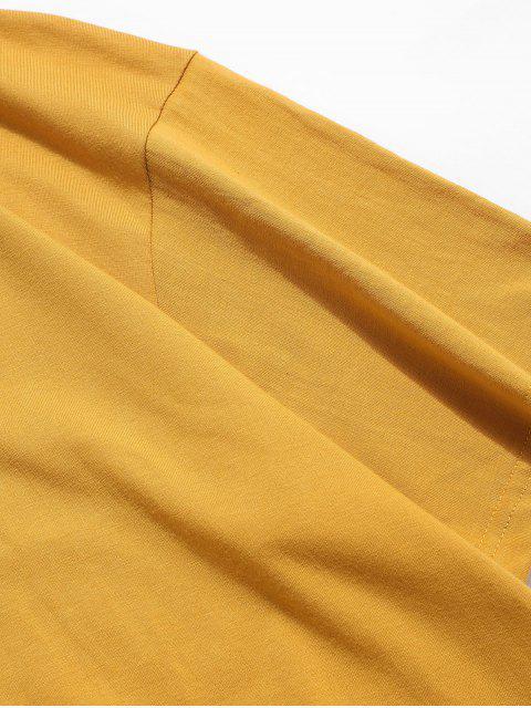 T-Shirt Basic con Collo Alto e Motivo di Farfalla - Oro d'arancio 3XL Mobile