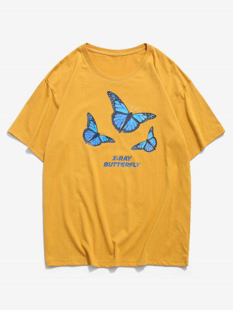X-ray Butterfly Graphic Basic T Shirt - الذهب البرتقالي 3XL Mobile
