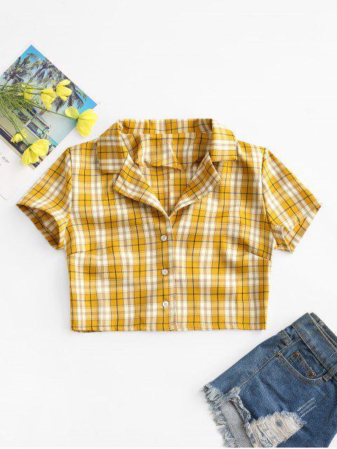 trendy Plaid Button Up Lapel Blouse - YELLOW S Mobile