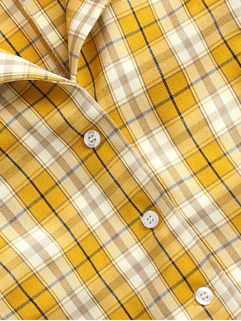 chic Plaid Button Up Lapel Blouse - YELLOW L Mobile