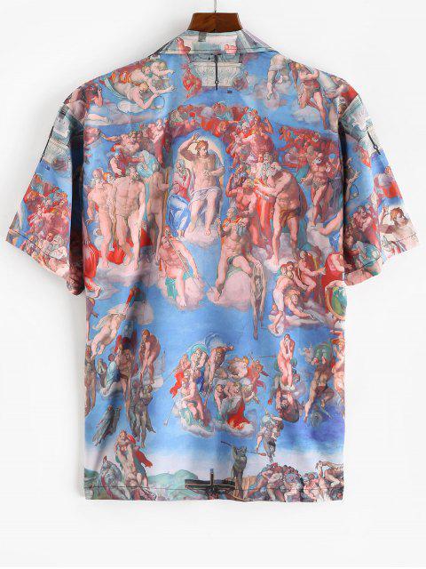 Allover Haidruck Kleid mit V Ausschnitt - Blau S Mobile