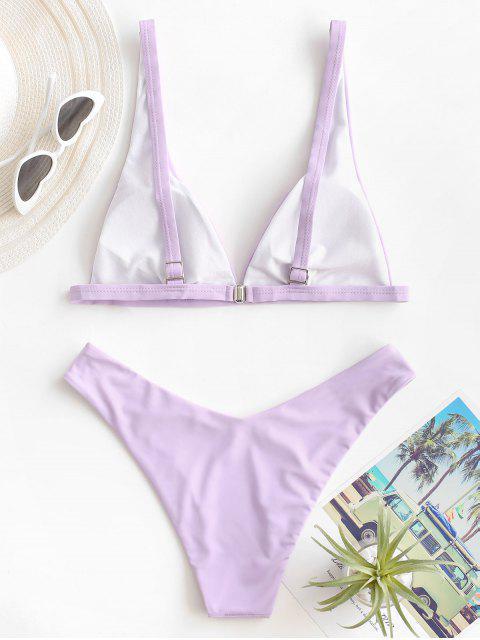 outfits ZAFUL High Cut Plunge Bikini Swimsuit - LIGHT PURPLE S Mobile