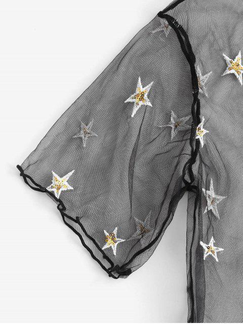 women ZAFUL Sequined Star Mesh Low Waisted Three Pieces Bikini Swimwear - BLACK M Mobile