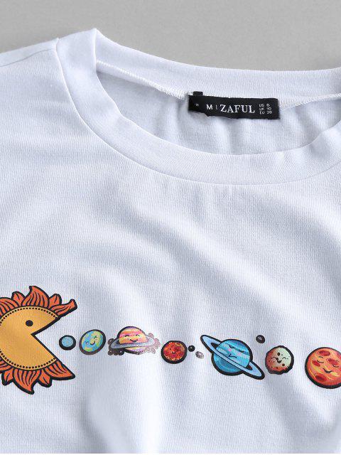 ZAFUL Camiseta de Manga Curta de Impressão de Planeta - Branco L Mobile